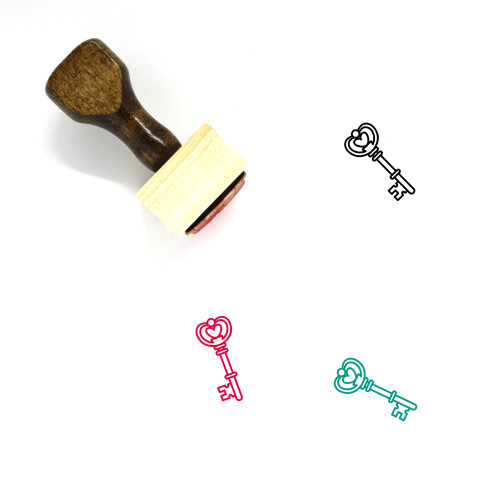 Heart Key Wooden Rubber Stamp No. 40