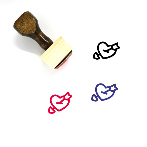 Arrow Heart Wooden Rubber Stamp No. 15