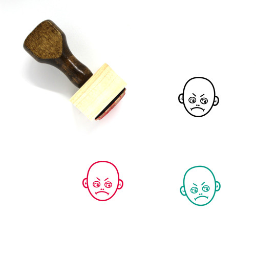 Angry Face Wooden Rubber Stamp No. 28
