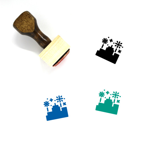 Firework Party Wooden Rubber Stamp No. 1