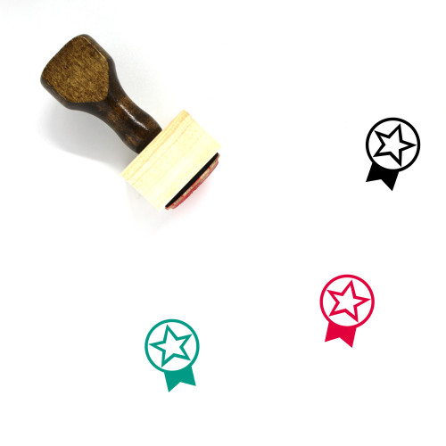 Ribbon Badge Wooden Rubber Stamp No. 65