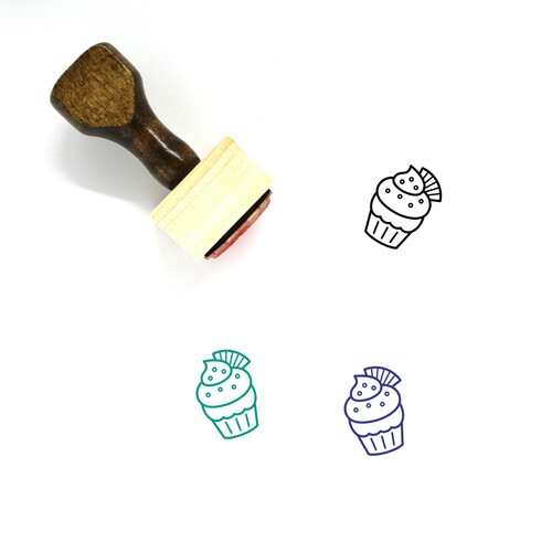 Wafer Cupcake Wooden Rubber Stamp No. 1