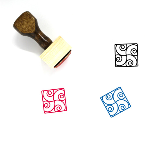 Abstract Wooden Rubber Stamp No. 40