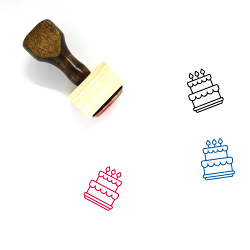 Cake Wooden Rubber Stamp No. 100