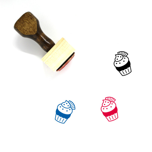 Chocolate Wafer Cupcake Wooden Rubber Stamp No. 1