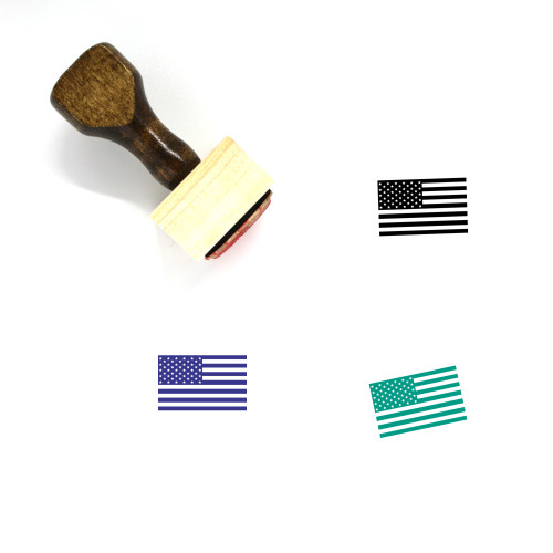 American Flag Wooden Rubber Stamp No. 14