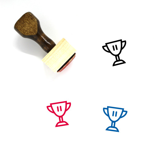 3Rd Place Trophy Wooden Rubber Stamp No. 2