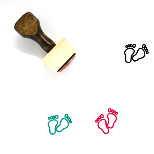 Footprints Wooden Rubber Stamp No. 19