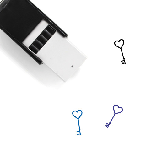 Heart Key Self-Inking Rubber Stamp No. 41