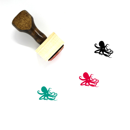 Octopus Wooden Rubber Stamp No. 66
