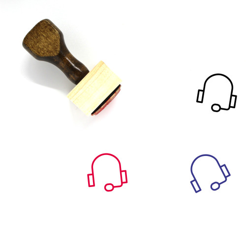 Headset Wooden Rubber Stamp No. 46