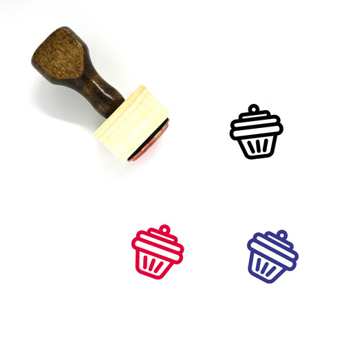 Muffin Wooden Rubber Stamp No. 25