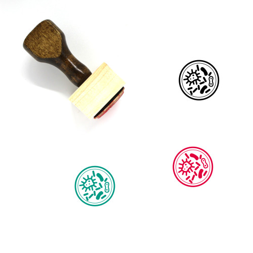 Microbes Wooden Rubber Stamp No. 7