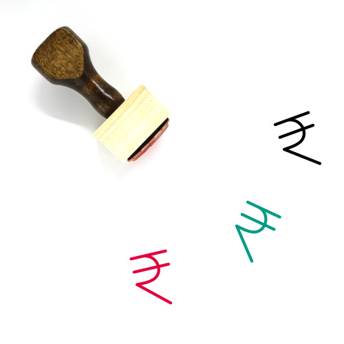 Rupee Wooden Rubber Stamp No. 49