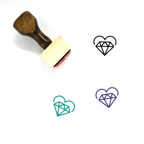 Diamond Heart Wooden Rubber Stamp No. 9