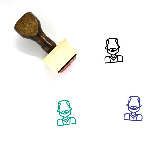 Old Man Wooden Rubber Stamp No. 48