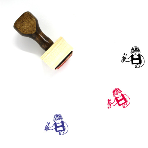 Construction Worker Wooden Rubber Stamp No. 49