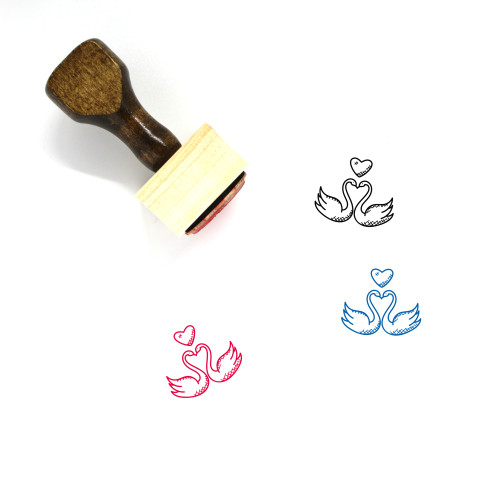 Swans In Love Wooden Rubber Stamp No. 1