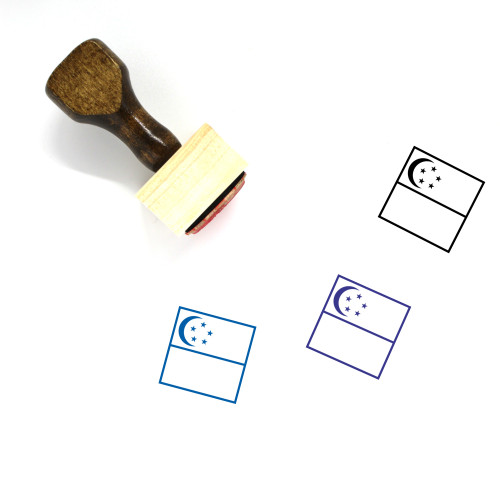 Flag Of Singapore Wooden Rubber Stamp No. 8