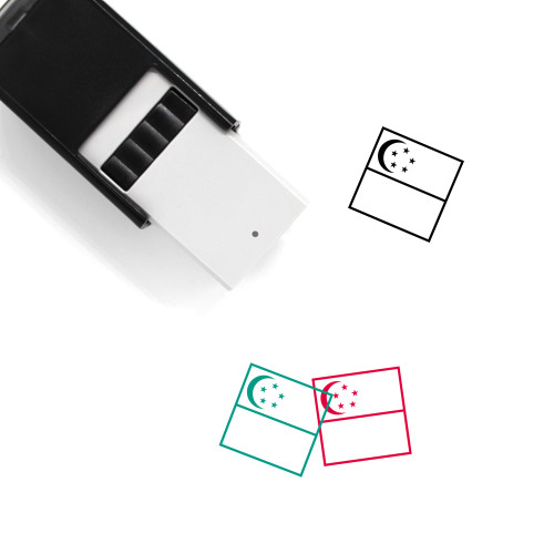 Flag Of Singapore Self-Inking Rubber Stamp No. 8