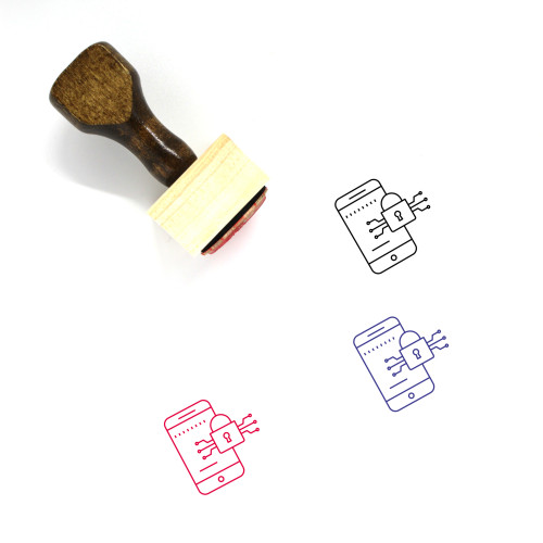 Mobile Lock Wooden Rubber Stamp No. 1
