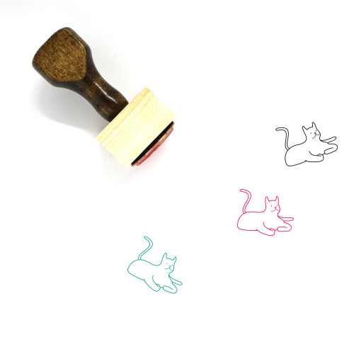 Cat Wooden Rubber Stamp No. 161