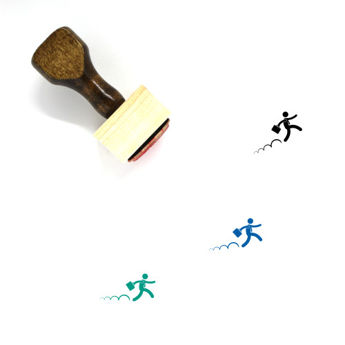 Jumping Businessman Wooden Rubber Stamp No. 1