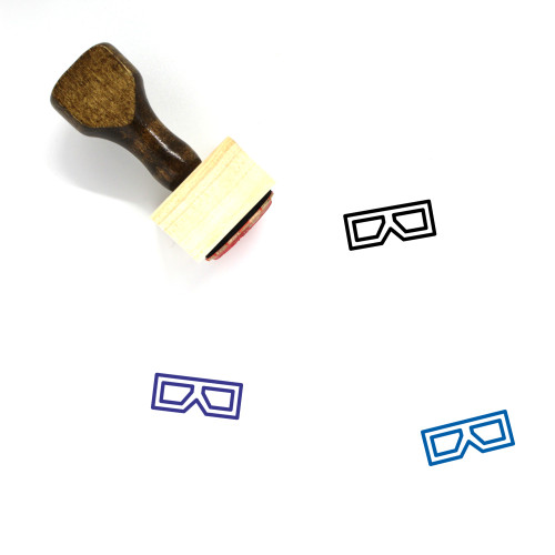 3D Glasses Wooden Rubber Stamp No. 39