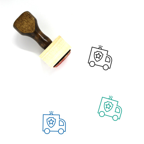 Police Truck Wooden Rubber Stamp No. 2