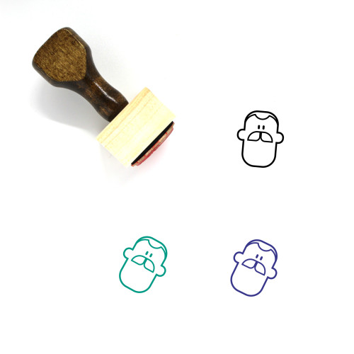 Man Wooden Rubber Stamp No. 452