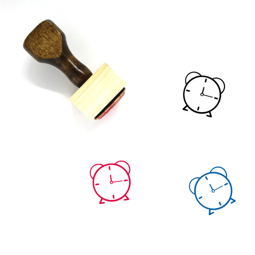 Alarm Clock Wooden Rubber Stamp No. 125