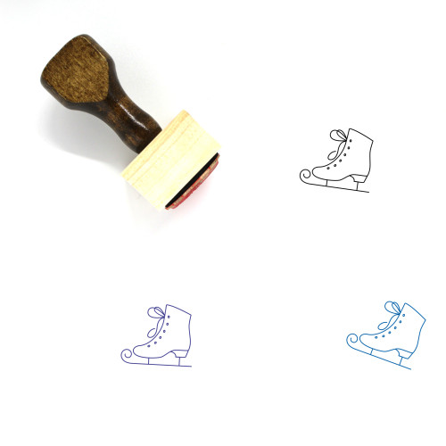 Ice Skate Wooden Rubber Stamp No. 20