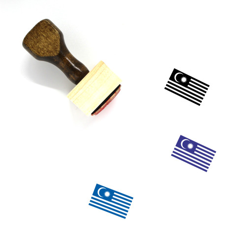 Malaysian Flag Wooden Rubber Stamp No. 2