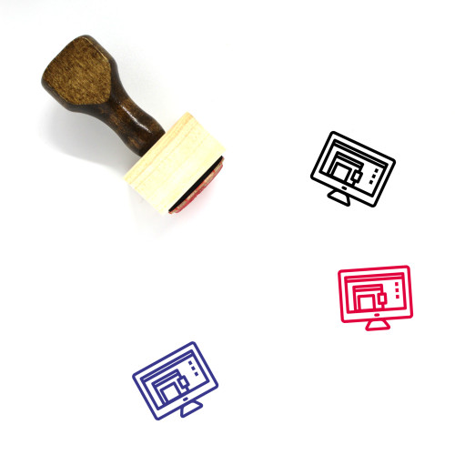 Monitor Wooden Rubber Stamp No. 163