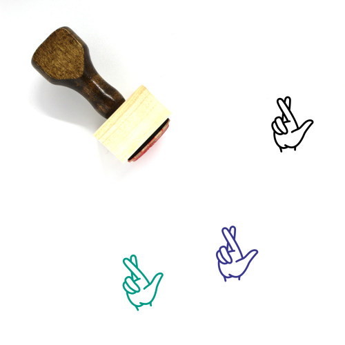 Fingers Crossed Wooden Rubber Stamp No. 19