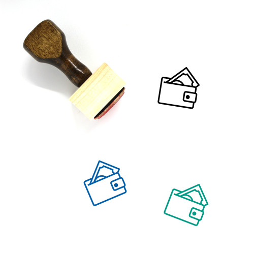 Wallet Wooden Rubber Stamp No. 162