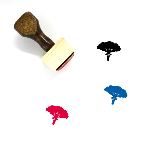 Mushroom Cloud Wooden Rubber Stamp No. 4