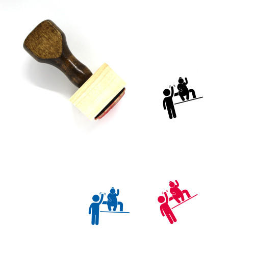 Kid Greeting Adult Wooden Rubber Stamp No. 1
