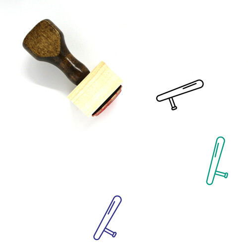 Police Baton Wooden Rubber Stamp No. 3