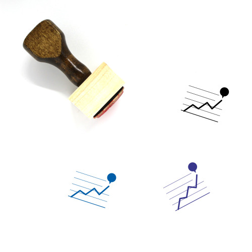 Line Graph Wooden Rubber Stamp No. 64