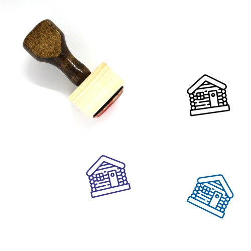 Log Cabin Wooden Rubber Stamp No. 25