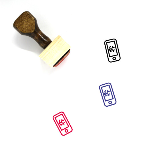 Cracked Phone Screen Wooden Rubber Stamp No. 1