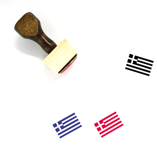 Greece Flag Wooden Rubber Stamp No. 4