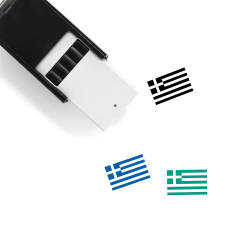 Greece Flag Self-Inking Rubber Stamp No. 4