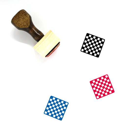 Chess Board Wooden Rubber Stamp No. 31