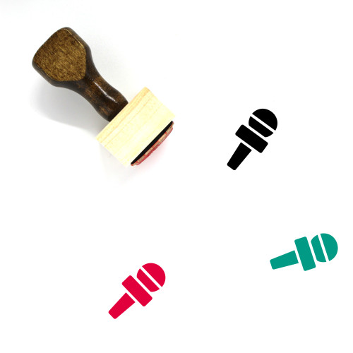 Microphone Wooden Rubber Stamp No. 128