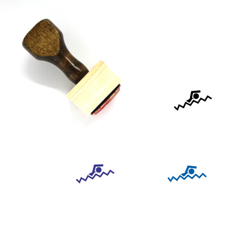 Swimming Wooden Rubber Stamp No. 38