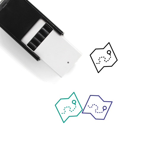 Map Self-Inking Rubber Stamp No. 653