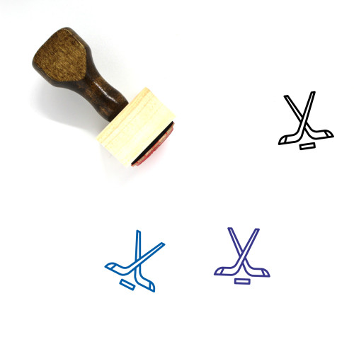 Hockey Wooden Rubber Stamp No. 34