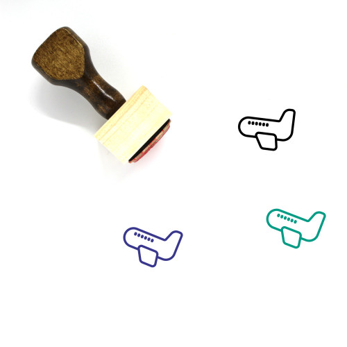 Airplane Wooden Rubber Stamp No. 337